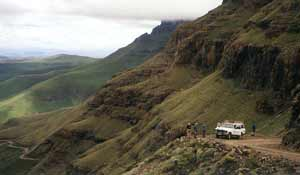 sani pass 4x4 trail in the southern drakensberg